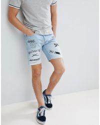 Jack & Jones - Denim Shorts With Graffitti Prints - Lyst