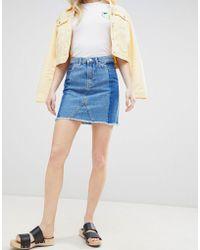 New Look - Deconstructed Denim Mini Skirt - Lyst