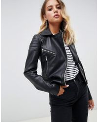 Barneys Originals Giacca biker in pelle - Nero