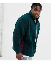 ASOS - Plus Oversized Borg Track Jacket In Green With Rib Panels - Lyst
