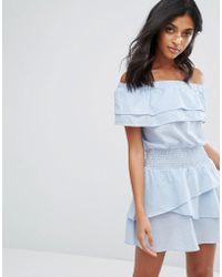 Vero Moda - Stripe Bardot Ruffle Dress - Lyst