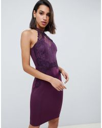 Lipsy - High Neck Lace Bodycon Dress In Purple - Lyst