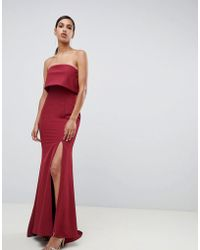 Jarlo - Bandeau Overlay Maxi Dress With Thigh Split In Berry - Lyst