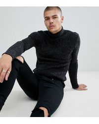 SIKSILK - Knitted Roll Neck Sweater In Black Exclusive To Asos - Lyst