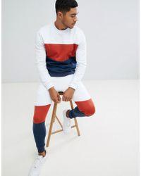 ASOS DESIGN - Tracksuit Sweatshirt/skinny Joggers With Colour Blocking - Lyst