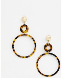 ASOS - Earrings In Double Circle Design In Tortoiseshell - Lyst