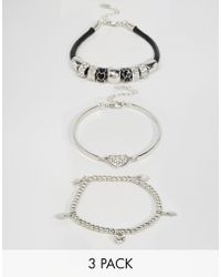 Lipsy - Charm Bracelet Set - Silver Multi - Lyst