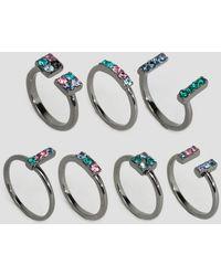 Lipsy - Multi Pack Rings - Gray - Lyst
