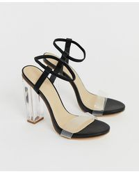 78d476b43afd Truffle Collection Tie Ankle 2part Point High Heels in Black - Lyst