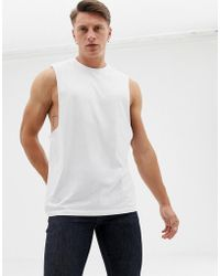 276e2fefb210d ASOS - Organic Relaxed Sleeveless T-shirt With Dropped Armhole In White -  Lyst