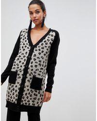 Liquorish - Leopard Longline Cardigan With Pockets - Lyst