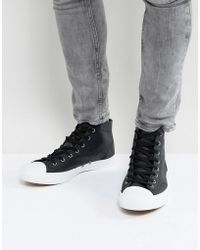 Converse - Jack Purcell Leather Mid Plimsolls In Black 157707c - Lyst