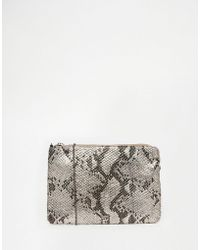 Nali - Silver Snake Effect Envelope Clutch Bag - Lyst