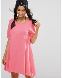 Billabong - Essential Beach Swing Dress In Washed Pink - Lyst