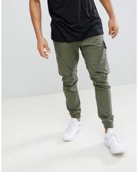 River Island - Tapered Fit Cargo Pant In Khaki - Lyst