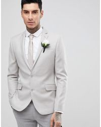 ASOS - Wedding Skinny Blazer In Putty 100% Merino Wool - Lyst