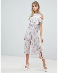 a458e12d6cc Love - Ditsy Floral Print Skater Jumpsuit With Ruffle Detail - Lyst