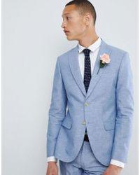 Moss Bros - Moss London Skinny Linen Wedding Suit Jacket In Blue - Lyst