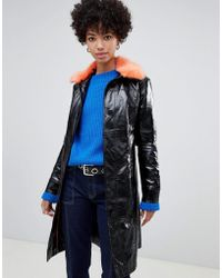 Pepe Jeans - Patent Belted Jacket With Faux Fur Collar - Lyst