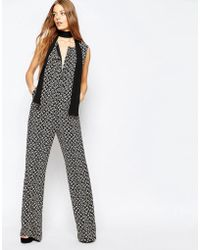 Sportmax Code - Sleeveless Flare Jumpsuit In Black Print - Lyst