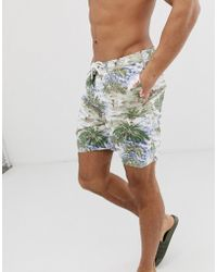 314cc823c7 Abercrombie & Fitch - 7 Inch Hawaiian Print Board Shorts In Multi - Lyst