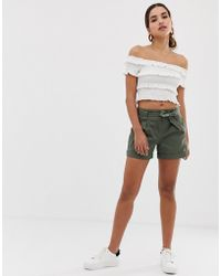 Oasis - Shorts With Belt In Khaki - Lyst