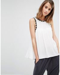 Warehouse - Embroidered Detail Swing Top - Lyst