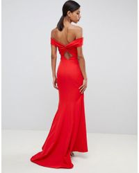 Jarlo - Cross Front And Back Bardot Maxi Dress In Red - Lyst