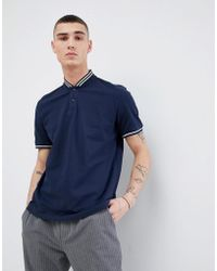 Mango - Man Baseball Neck Polo Shirt In Navy - Lyst