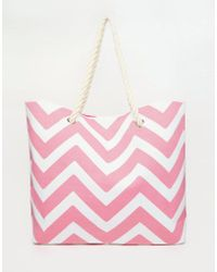 South Beach - Chevron Print Beach Bag In Pink - Lyst