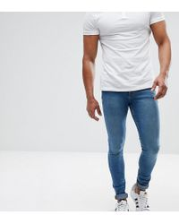 ASOS - Tall Extreme Super Skinny Jeans In Mid Blue - Lyst