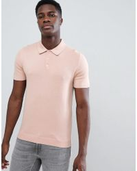 Reiss - Short Sleeve Knitted Polo Shirt In Pink - Lyst