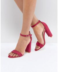 Glamorous - Fuschia Barely There Block Heeled Sandals - Lyst
