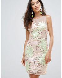 Forever Unique - Floral Applique Sleeveless Shift Dress - Lyst