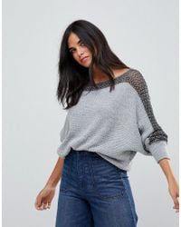 Wal-G - Batwing Jumper With Contrast Sleeve Stitch - Lyst