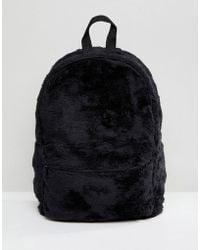 ASOS - Backpack In Black Faux Fur - Lyst