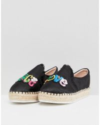 Lost Ink - Peace & Love Black Flatform Espadrilles - Lyst