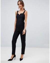 8a00e158556 ASOS Collection Tailored Dungarees in Black - Lyst