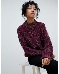 Pieces - Mixed Yarn Chuink Roll Neck Sweater - Lyst