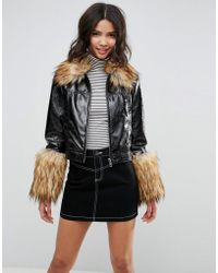 ASOS - Leather Look Vinyl Jacket With Faux Fur Trim - Lyst