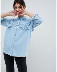 ASOS - Denim Fringed Shirt In Midwash Blue - Lyst