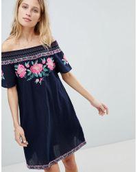 87002a7b7f Accessorize Kimono Sleeve Beach Dress In Black Floral in Black - Lyst