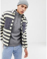 Native Youth - Striped Borg Shacket - Lyst