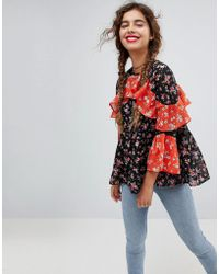 ASOS | Mix & Match Floral Print Tiered Ruffle Blouse | Lyst