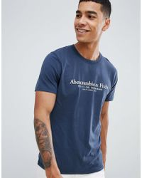 Abercrombie & Fitch - Varsity Print Logo T-shirt In Navy - Lyst