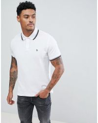 Original Penguin - Pique Tipped Polo Slim Fit Small Logo Slim Fit In White - Lyst