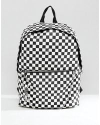ASOS - Faux Leather Backpack In Checkerboard Print - Lyst