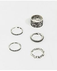 ASOS - Egyptian Style Ring Pack In Burnished Silver Tone - Lyst