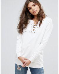 Vila - Lace Front Sweatshirt - Lyst