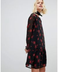 Pieces - Floral Mesh Dress With Ruffle Hem - Lyst
